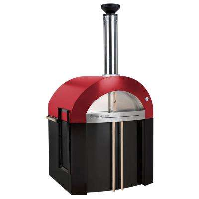 Bellagio 32 in. x 36 in. 300-Wood Burning Oven with Cabinet in Red