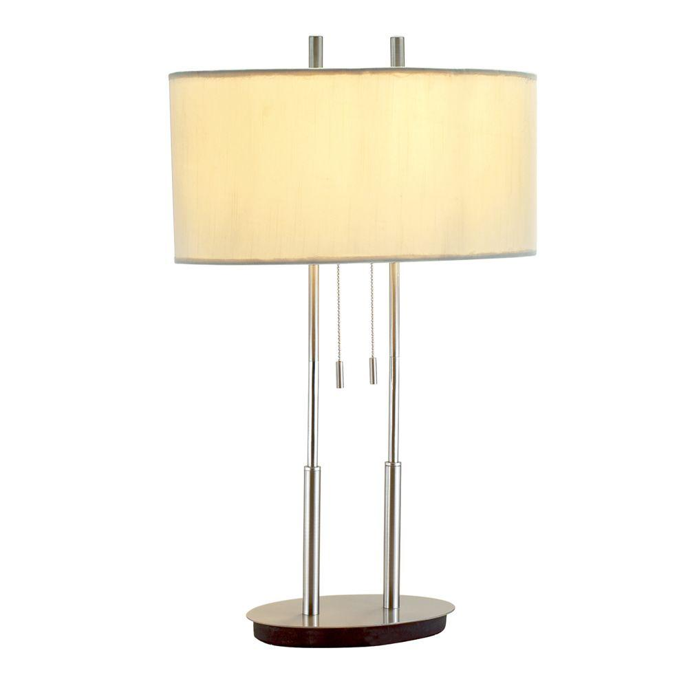 Adesso duet 27 in satin steel table lamp 4015 22 the home depot satin steel table lamp aloadofball Gallery