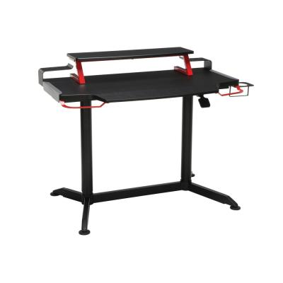 42 in. Rectangular Red Computer Desk with Adjustable Height Feature