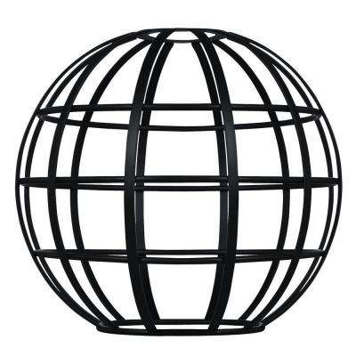 7 in. Matte Black Globe Cage Shade with 2-1/4 in. Fitter and 8 in. Width