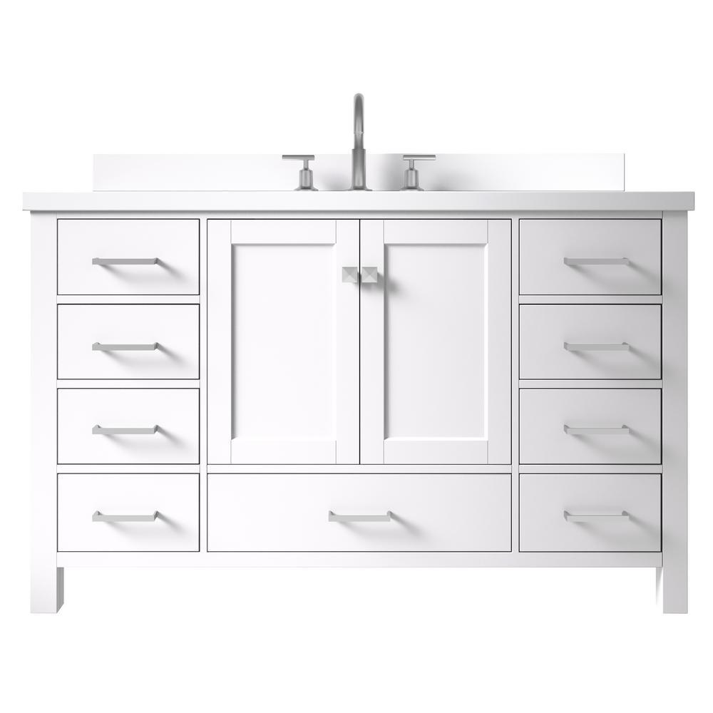 Cambridge 55 in. W x 22 in. D x 35 in. H Bath Vanity in White with Quartz Vanity Top in White with White Basin