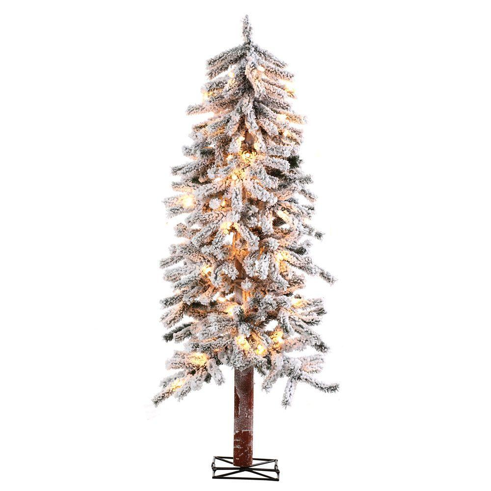 5 ft. Pre-Lit Flocked Alpine Artificial Christmas Tree wi...