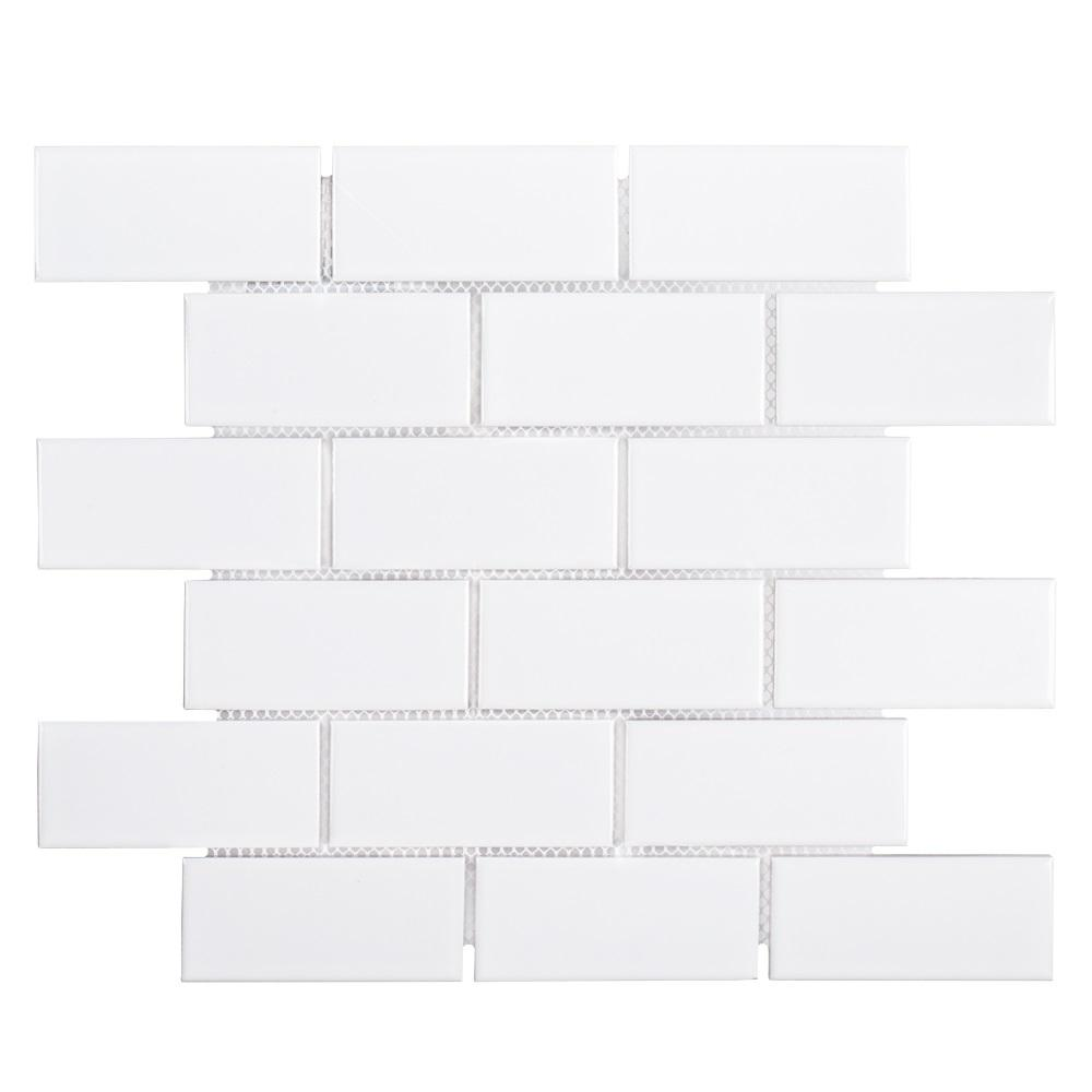 Jeffrey Court Classic 2 x 4 Brick White Interlocking 11.625 in. x 11.625 in. x 6 mm Glossy Porcelain Mosaic Floor and Wall Tile