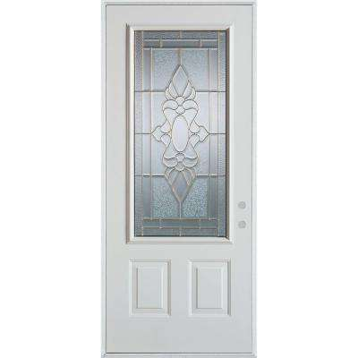 37.375 in. x 82.375 in. Traditional Brass 3/4 Lite 2-Panel Prefinished White Left-Hand Inswing Steel Prehung Front Door
