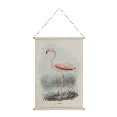 Flamingo Hanging Linen Multi Colored Wall Tapestry