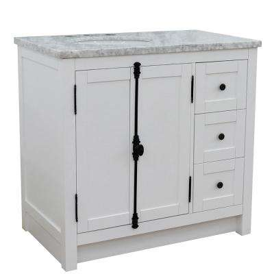 37 in. W x 22 in. D x 36 in. H Bath Vanity in Glacier Ash with White Marble Vanity Top and Left Side Oval Sink