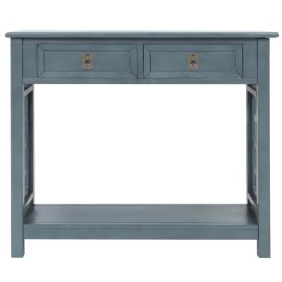 36 in. Navy Rectangle Wood Console Table with 2-Drawers