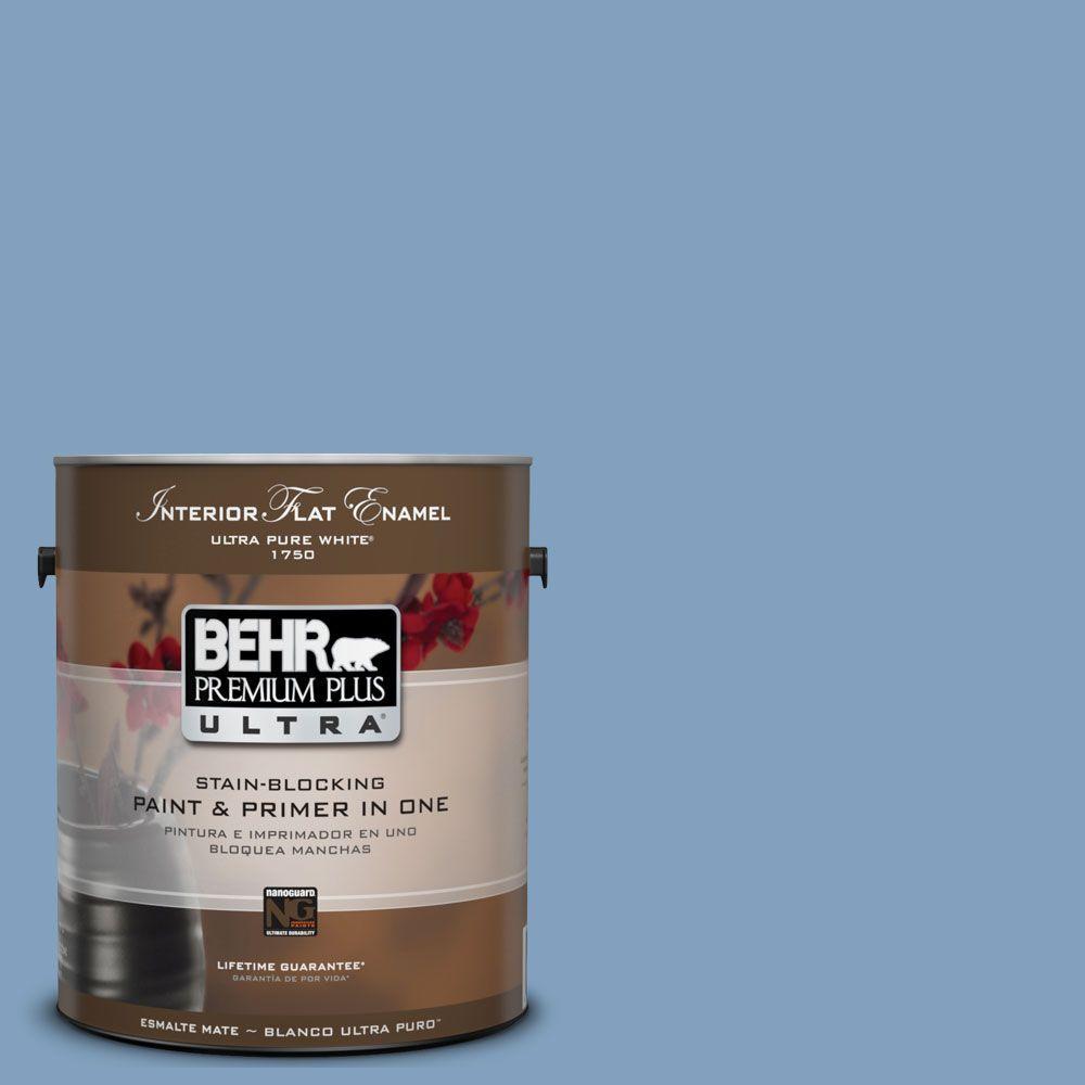 BEHR Premium Plus Ultra 1-gal. #UL230-7 Hawaiian Sky Interior Flat Enamel Paint