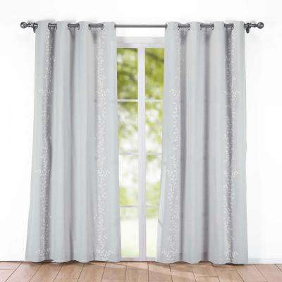 Embroidered Canvas Window Panels 54 in. x 84 in.  in Gray