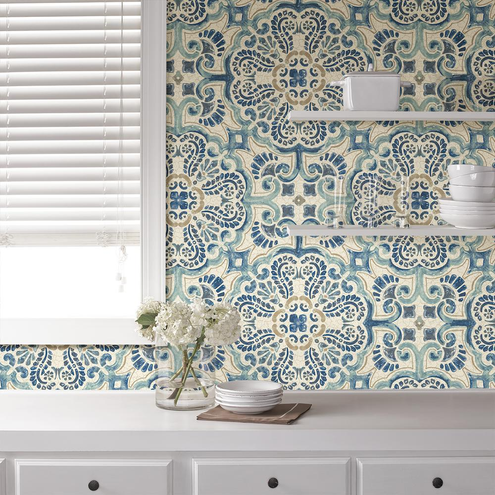 Nuwallpaper blue florentine tile peel and stick wallpaper for Paintable peel n stick wallpaper