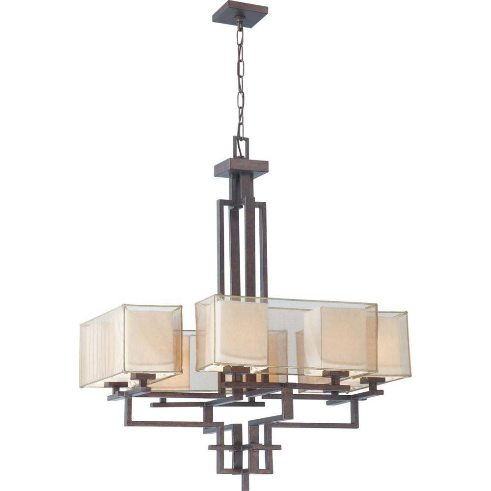 Glomar 8-Light Chandelier with Gold Sheer & Beige Linen Fabric Shades Finished in Corvo Bronze-DISCONTINUED