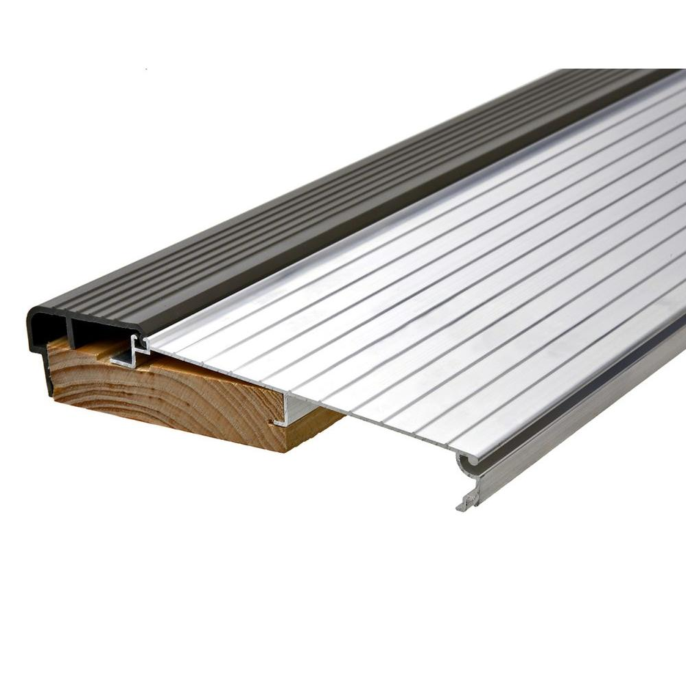 Frost king e o 5 5 8 in x 3 ft silver brown fixed sill threshold ts36a the home depot for How to install a threshold for an exterior door