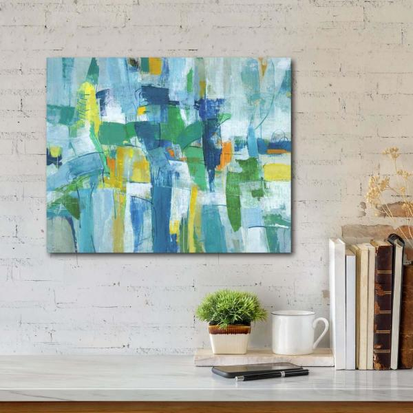 Courtside Market Blue Green Abstract I Gallery Wrapped Canvas Wall Art 20 In X 16 In Web Ac202 16x20 The Home Depot
