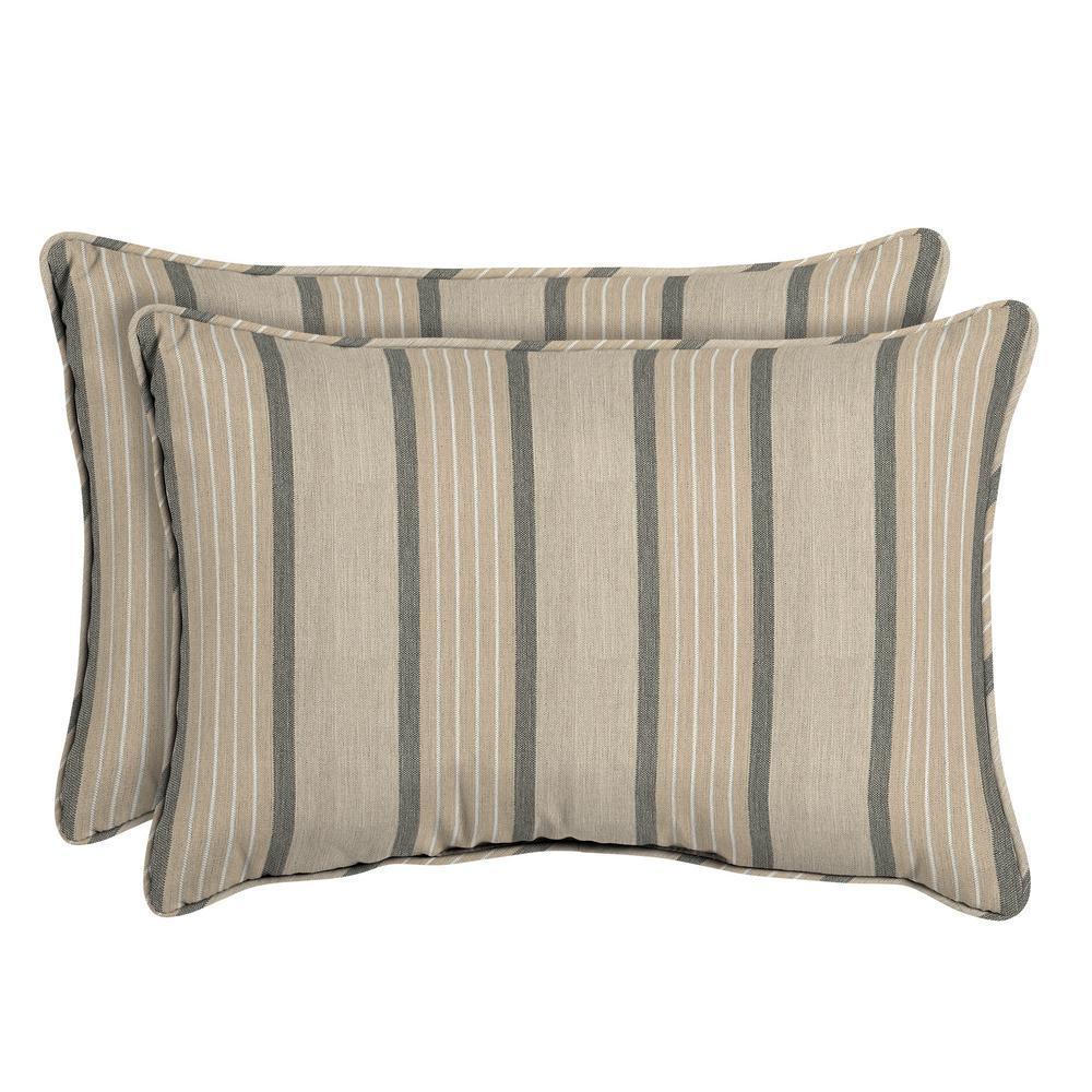 Sunbrella Cove Pebble Oversized Lumbar Outdoor Throw Pillow (2-Pack)