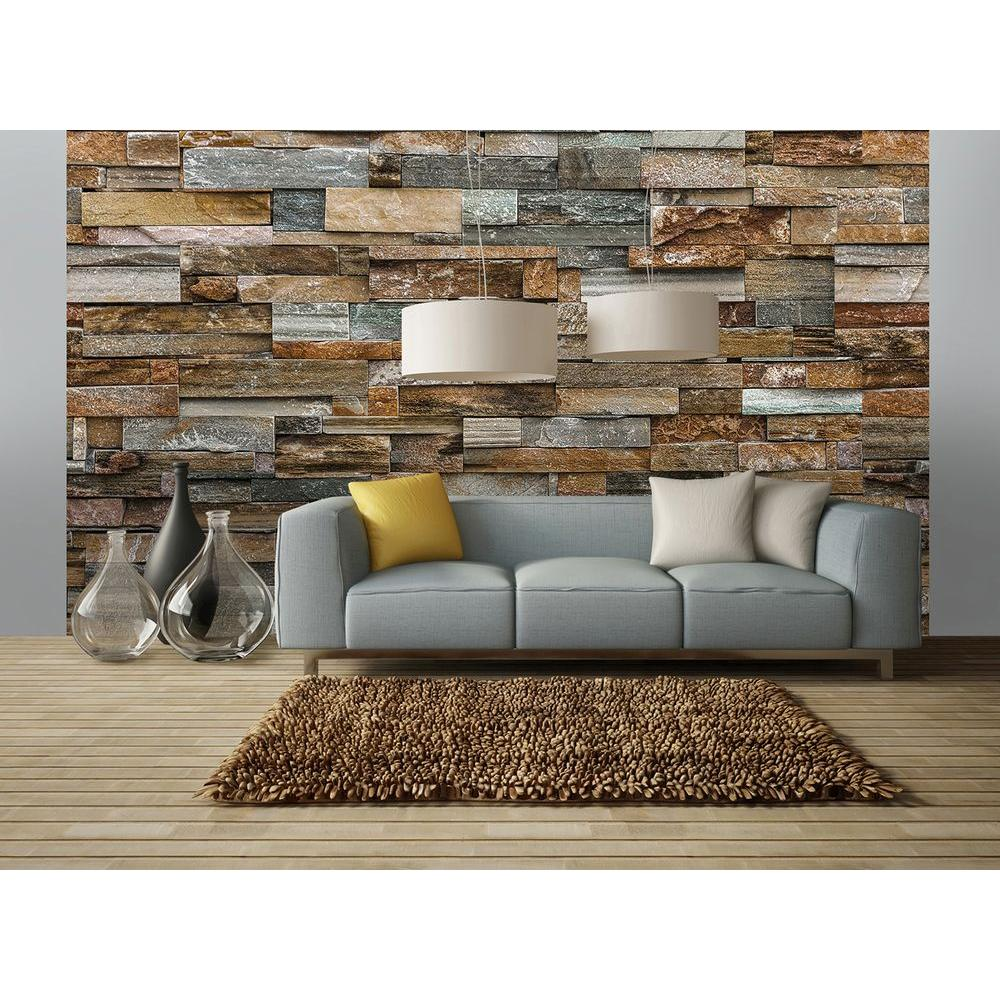ideal decor 144 in w x 100 in h colorful stone wall mural dm159