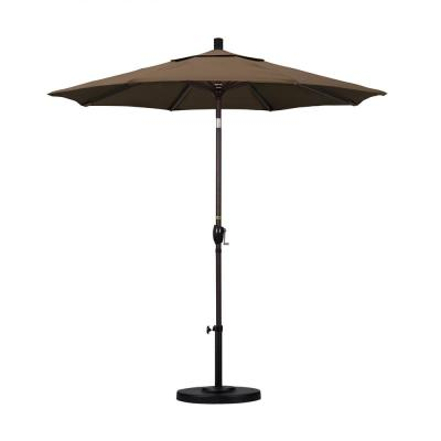 California Umbrella 7.5 ft. Bronze Aluminum Pole Market Aluminum Ribs Push Tilt Crank Lift Patio Umbrella in Cocoa Sunbrella