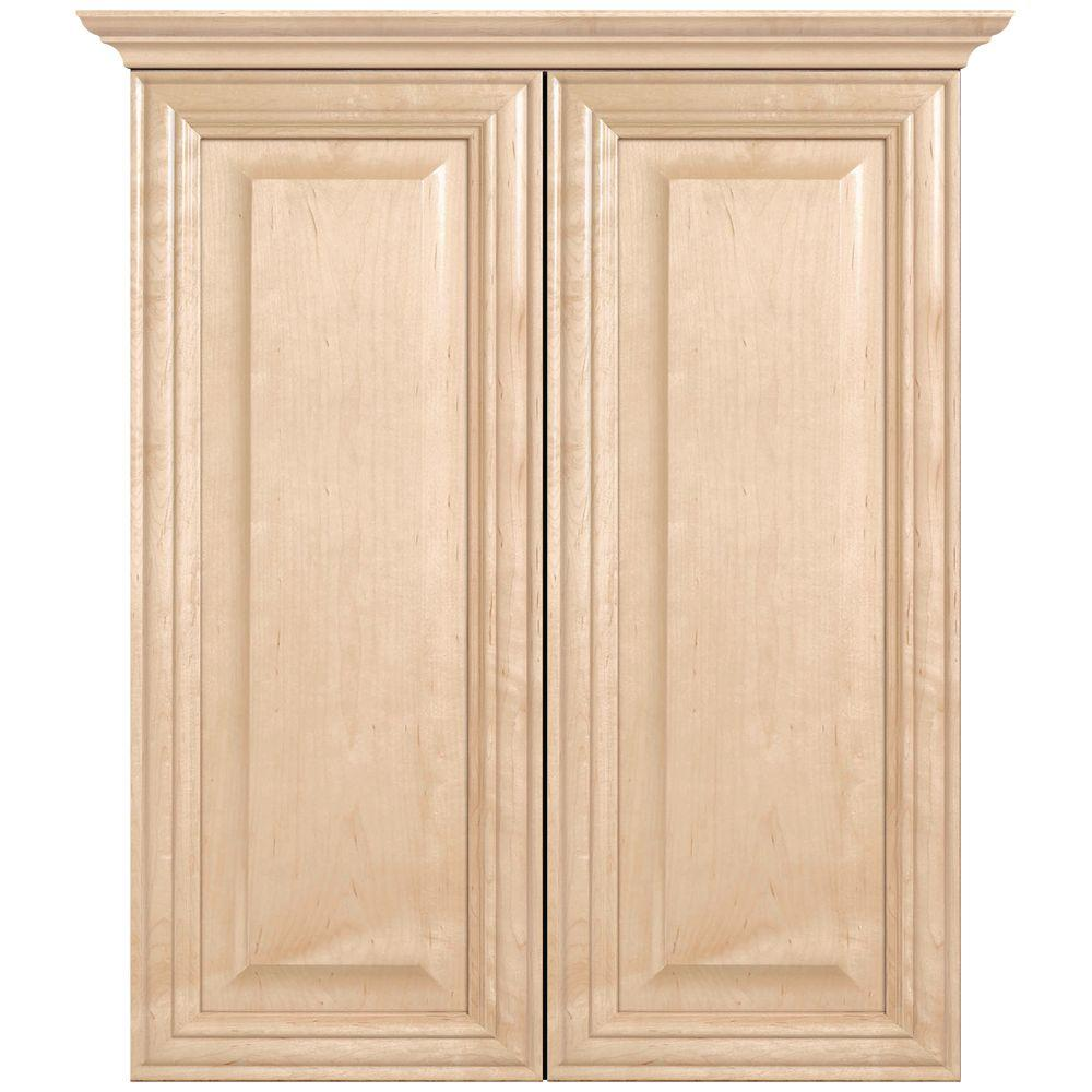 MasterBath Raised Panel 24 in. W Bath Storage Cabinet in Natural Maple