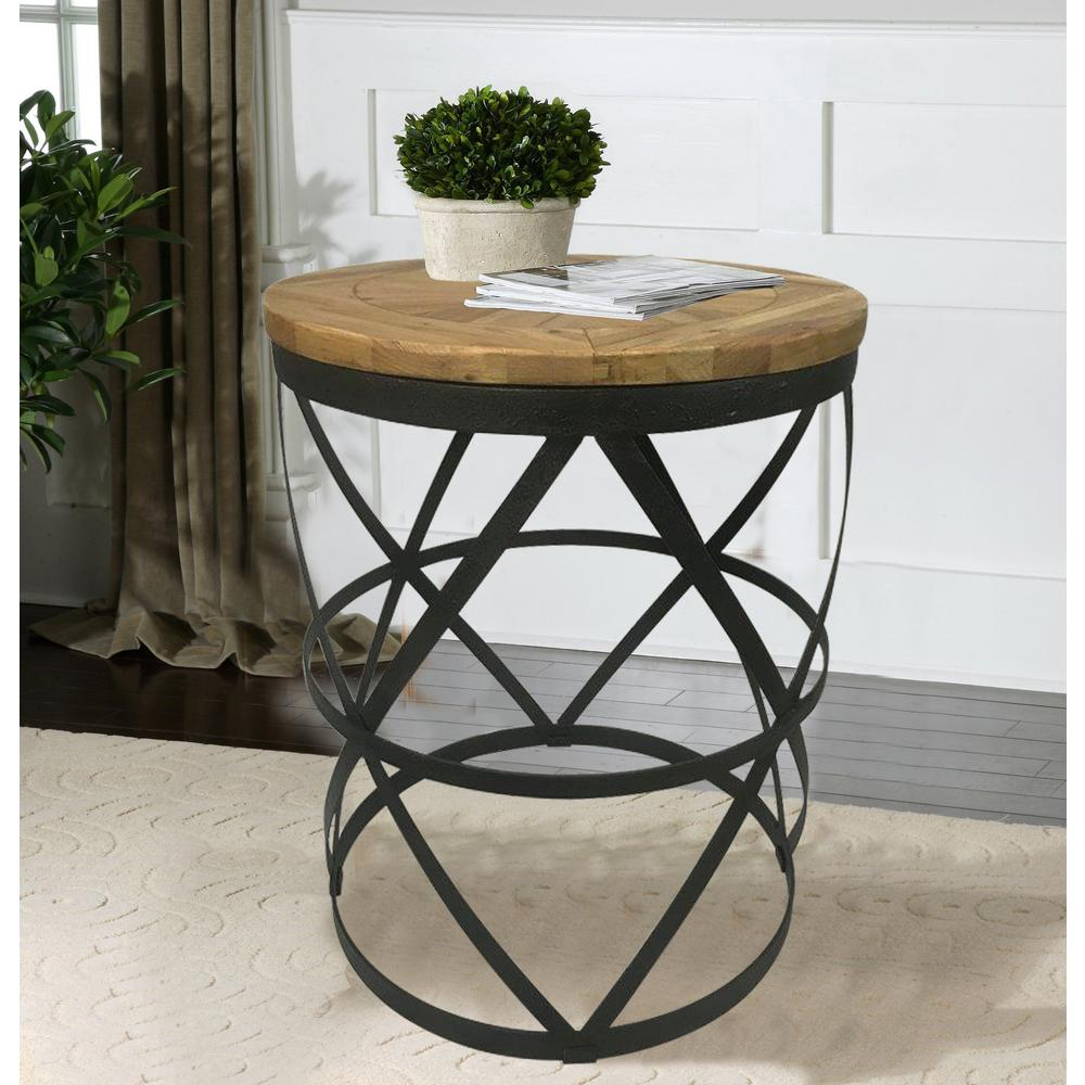 Reclaimed Wood End Tables ~ Industrial reclaimed wood round end table dmt the