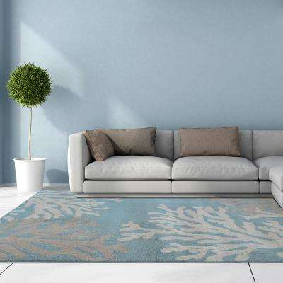 Coral Teal Polyester 5 ft. x 8 ft. Area Rug
