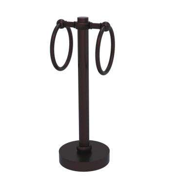 Vanity Top 2-Towel Ring Guest Towel Holder with Twisted Accents in Antique Bronze