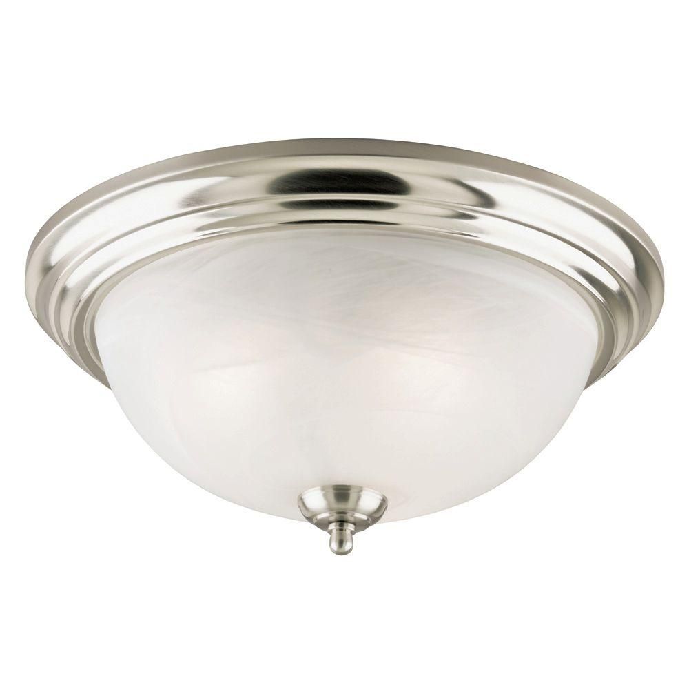 Westinghouse 3 Light Brushed Nickel Interior Ceiling Flushmount With Frosted White Alabaster Glass