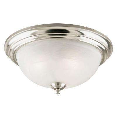 3-Light Brushed Nickel Interior Ceiling Flushmount with Frosted White Alabaster Glass