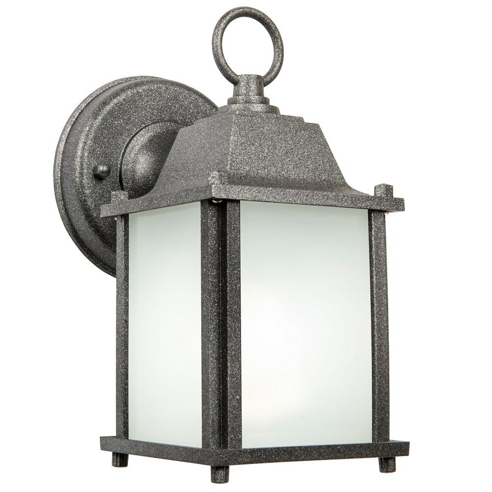 Newport Crest Turner 1-Light Satin Nickel Outdoor Wall Lantern