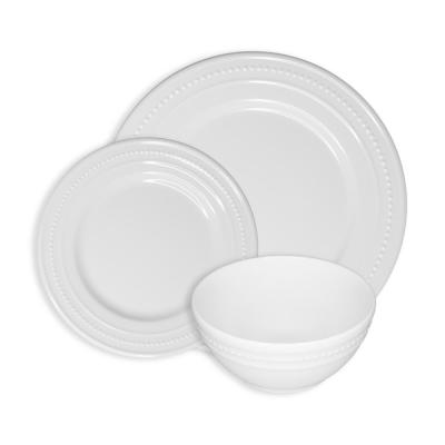 Beaded 12-Piece Casual White Melamine Outdoor Dinnerware Set (Service for 4)