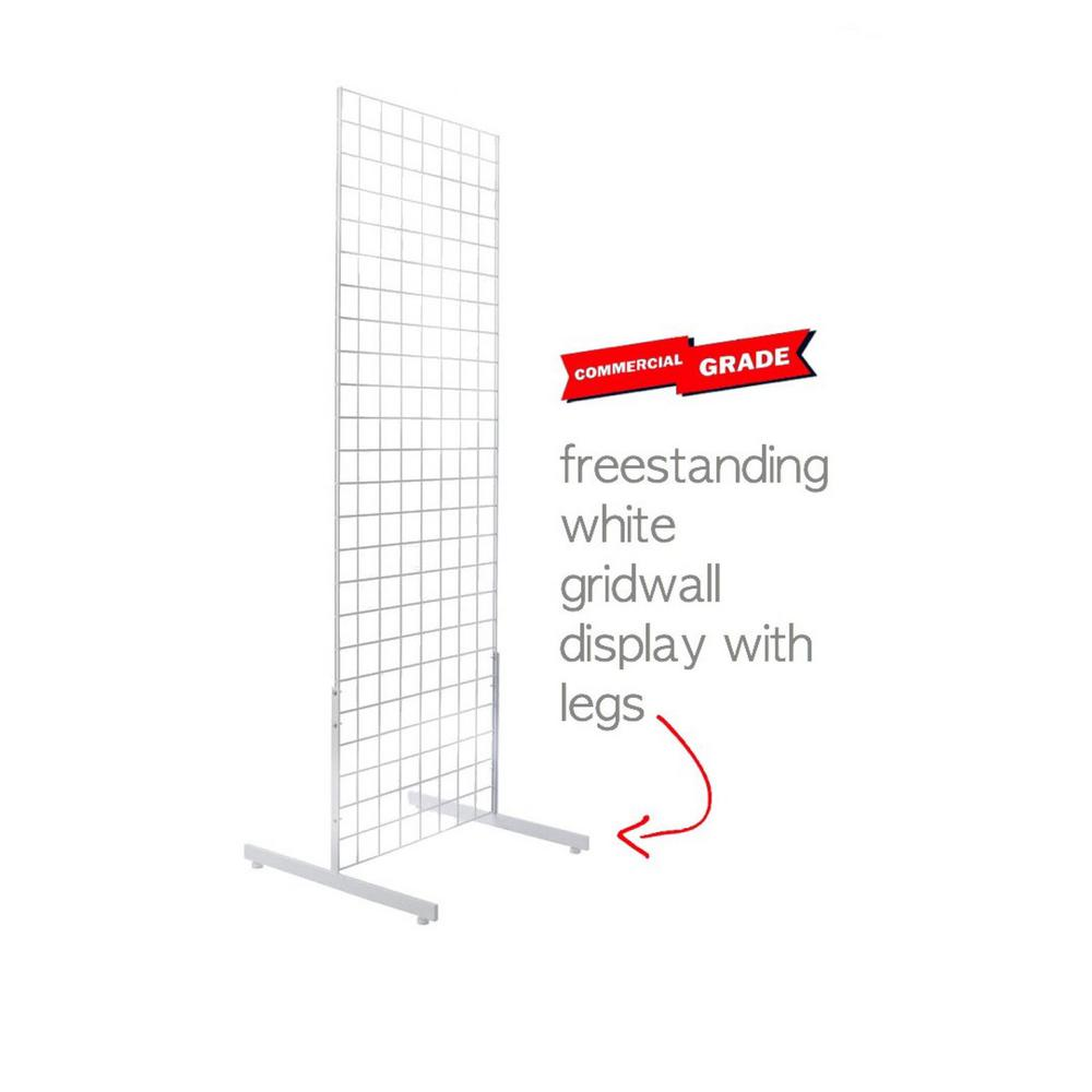 Only Hangers 72 in. H x 24 in. W Grid Wall Panel Tower with T-Base Floorstanding Grid Wall Display Kit, White
