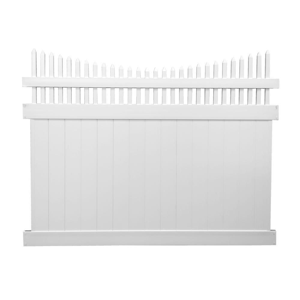 Halifax 6 ft. H x 8 ft. W White Vinyl Privacy Fence Panel Kit