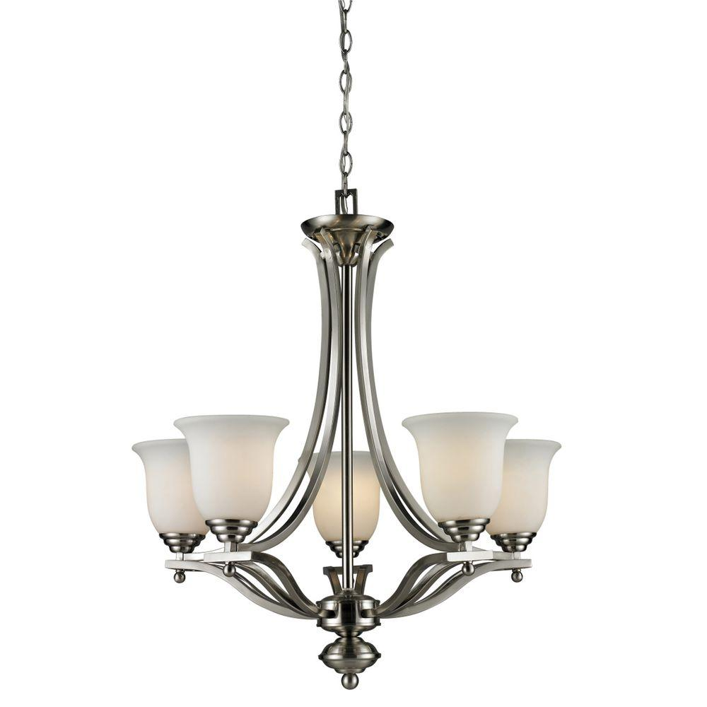 Lawrence 5-Light Brushed Nickel Incandescent Ceiling Chandelier