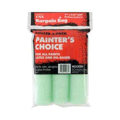 Painter's Choice 9 in. x 3/8 in. Fabric Medium-Density Roller Cover (3-Pack)