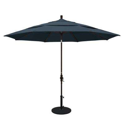 11 ft. Aluminum Collar Tilt Double Vented Patio Umbrella in Sapphire Pacifica