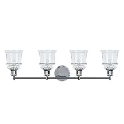 4-Light Chrome Vanity Light with Clear Glass Shade