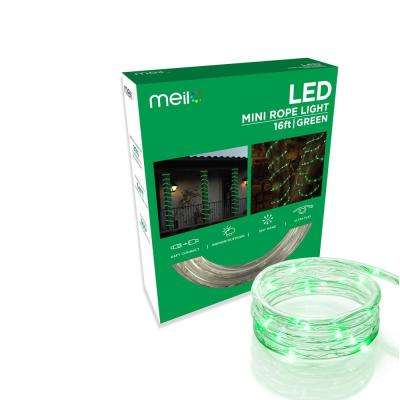 16 ft. Green All Occasion Indoor Outdoor LED 1/4 in. Mini Rope Light 360° Directional Shine Decoration