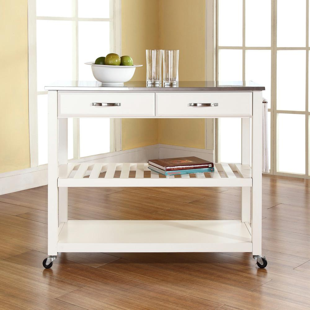 Crosley White Kitchen Cart With Stainless Steel Top