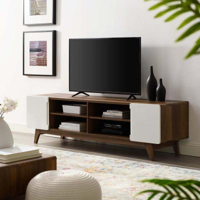 Tread 70 in. Walnut and White Wood TV Stand Fits TVs Up to 70 in. with Storage Doors