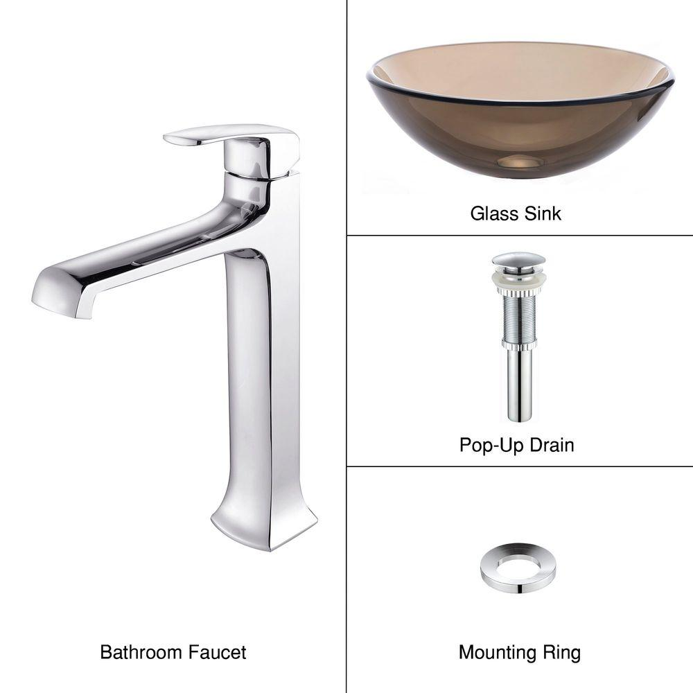 KRAUS Vessel Sink in Clear Glass Brown with Decorum Faucet in Chrome