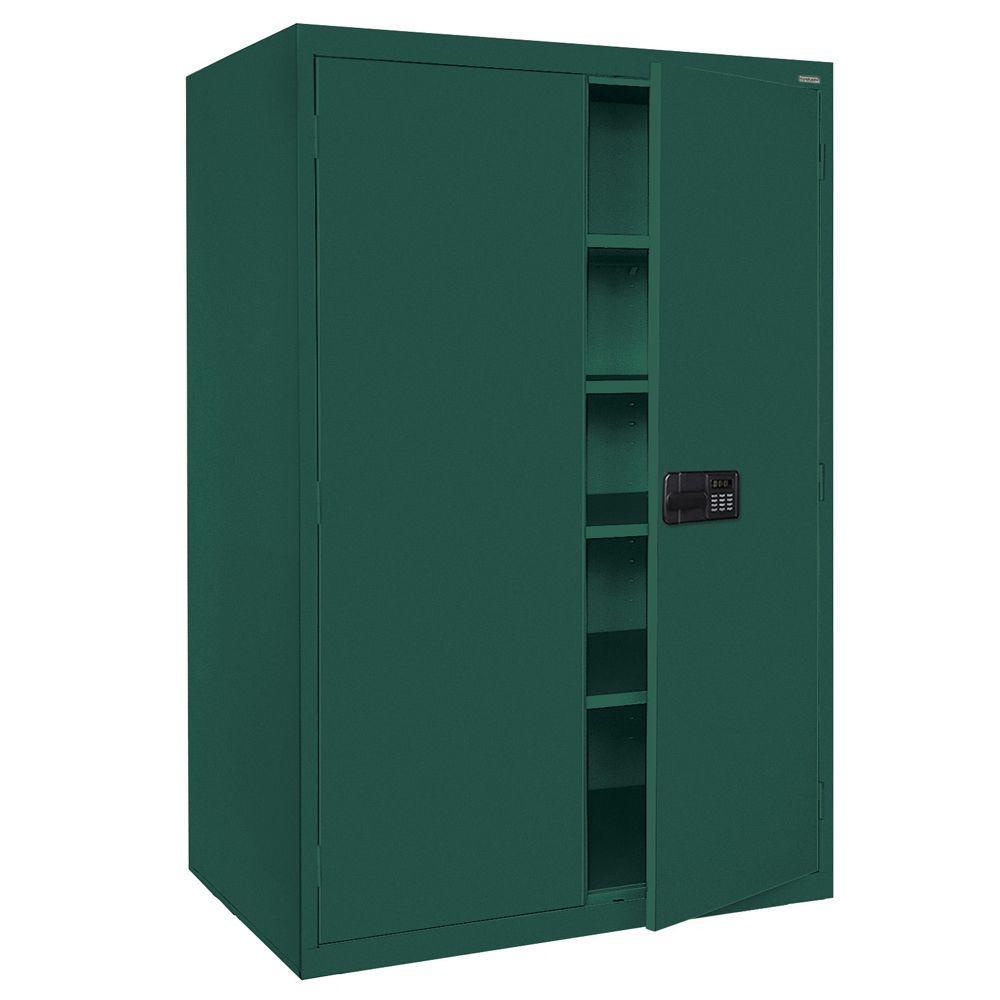 Sandusky Elite Series 78 in. H x 46 in. W x 24 in. D 5-Shelf Steel Keyless Electronic Handle Storage Cabinet in Forest Green