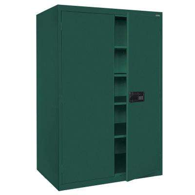 Elite Series 78 in. H x 46 in. W x 24 in. D 5-Shelf Steel Keyless Electronic Handle Storage Cabinet in Forest Green