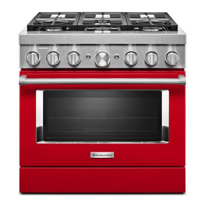 36 in. 5.1 cu. ft. Dual Fuel Freestanding Smart Range with 6-Burners in Passion Red