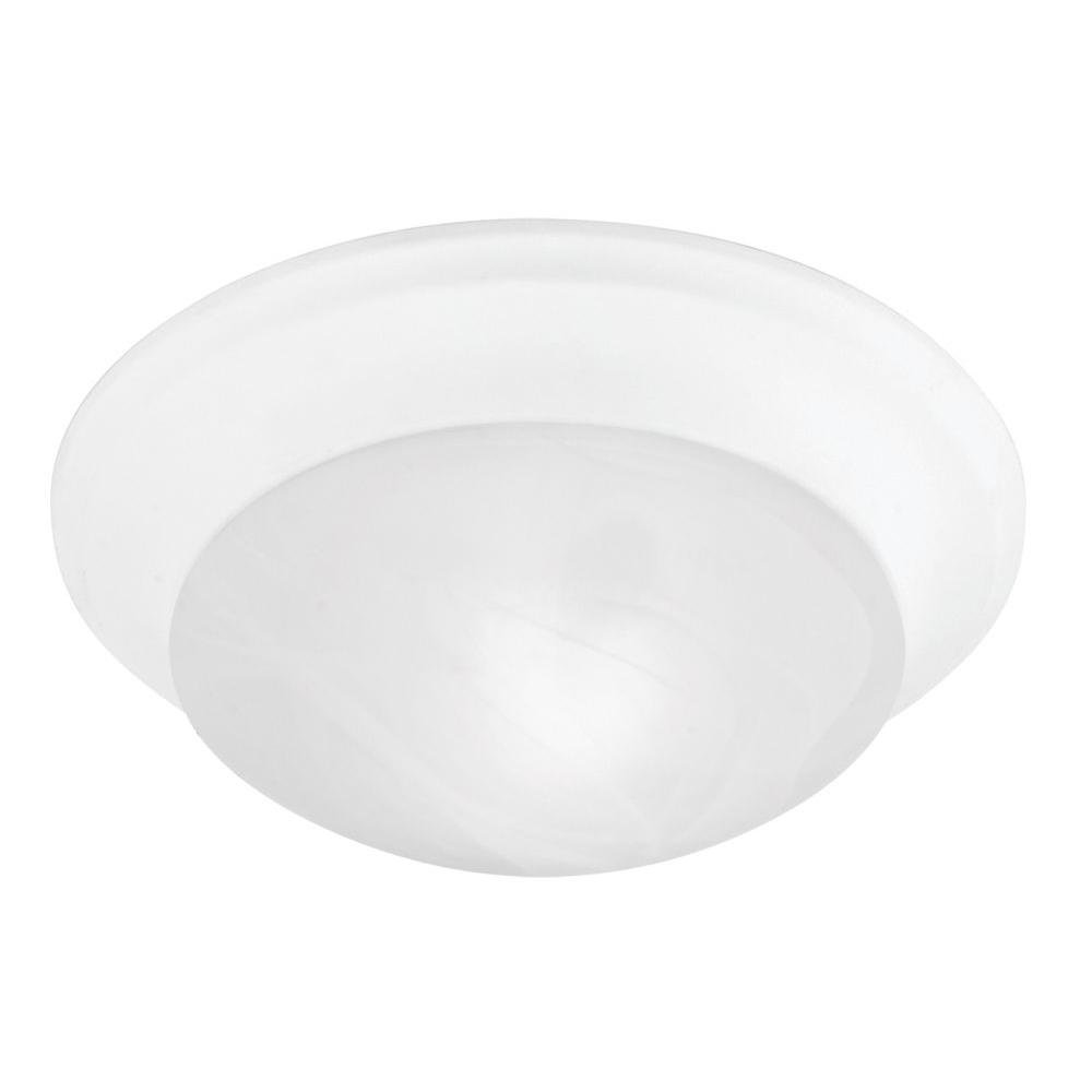 Livex Lighting 4 in. 1-Light White Flushmount with White Alabaster Glass
