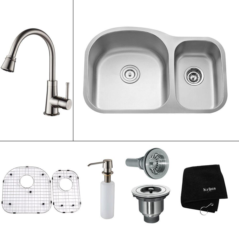 KRAUS All-in-One Undermount Stainless Steel 31.5x20.5x13 in. 0-Hole Double Bowl Kitchen Sink with Satin Nickel Accessory