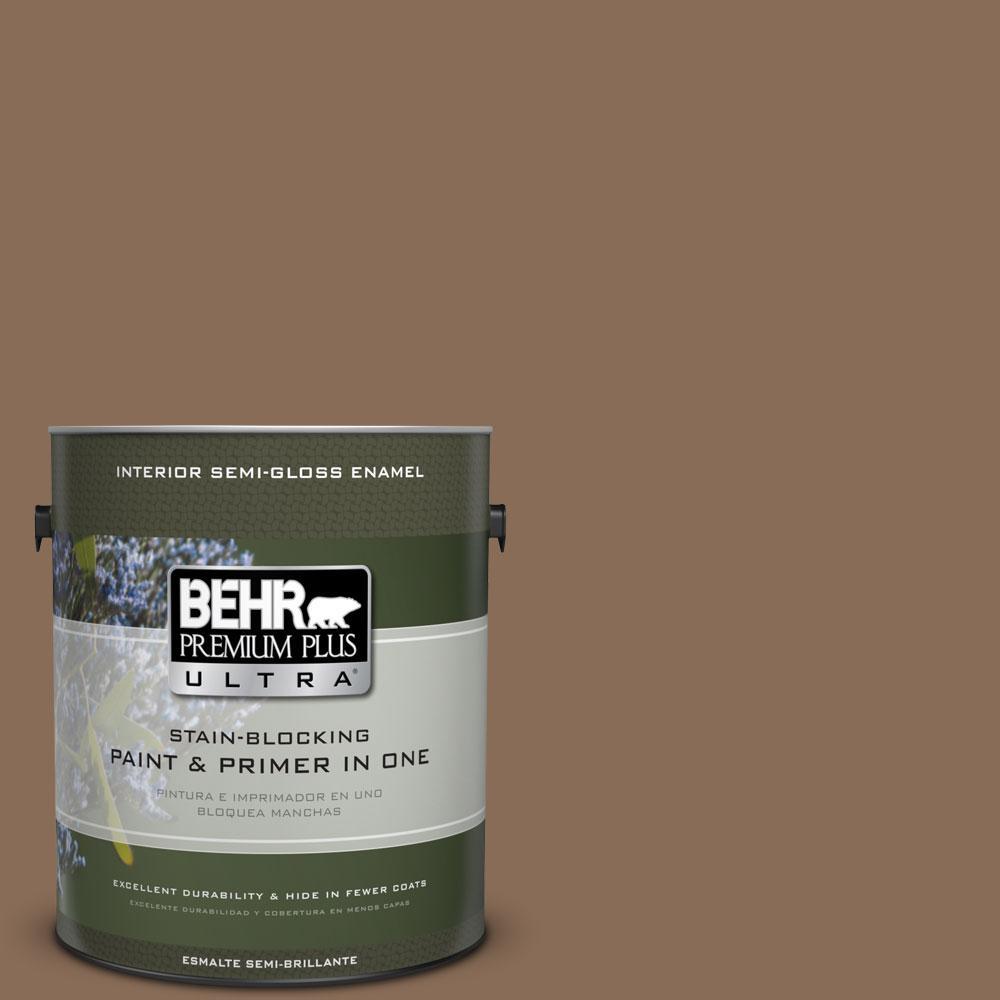 1-gal. #BNC-34 Spiced Latte Semi-Gloss Enamel Interior Paint