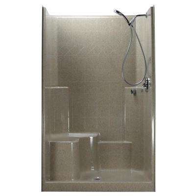 48 in. x 37 in. x 80 in. 1-Piece Low Threshold Shower Stall in Cotton Seed Shower Kit, Left Hand Side Seat, Center Drain