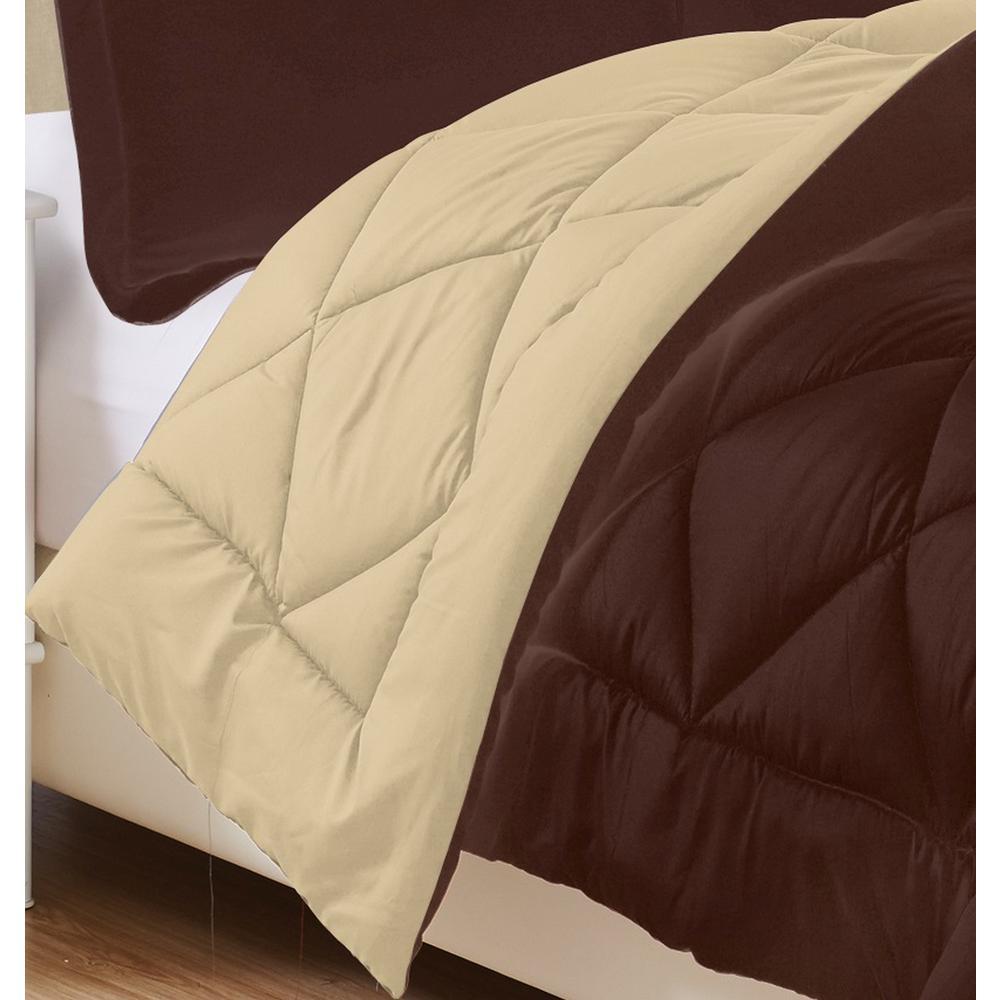 3-Piece Chocolate/Cream King Comforter Set