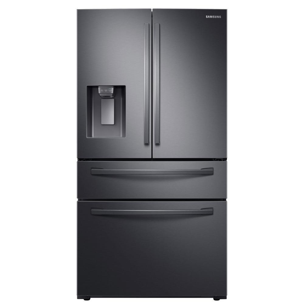 23 cu. ft. 4-Door French Door Refrigerator in Fingerprint Resistant Black Stainless, Counter Depth