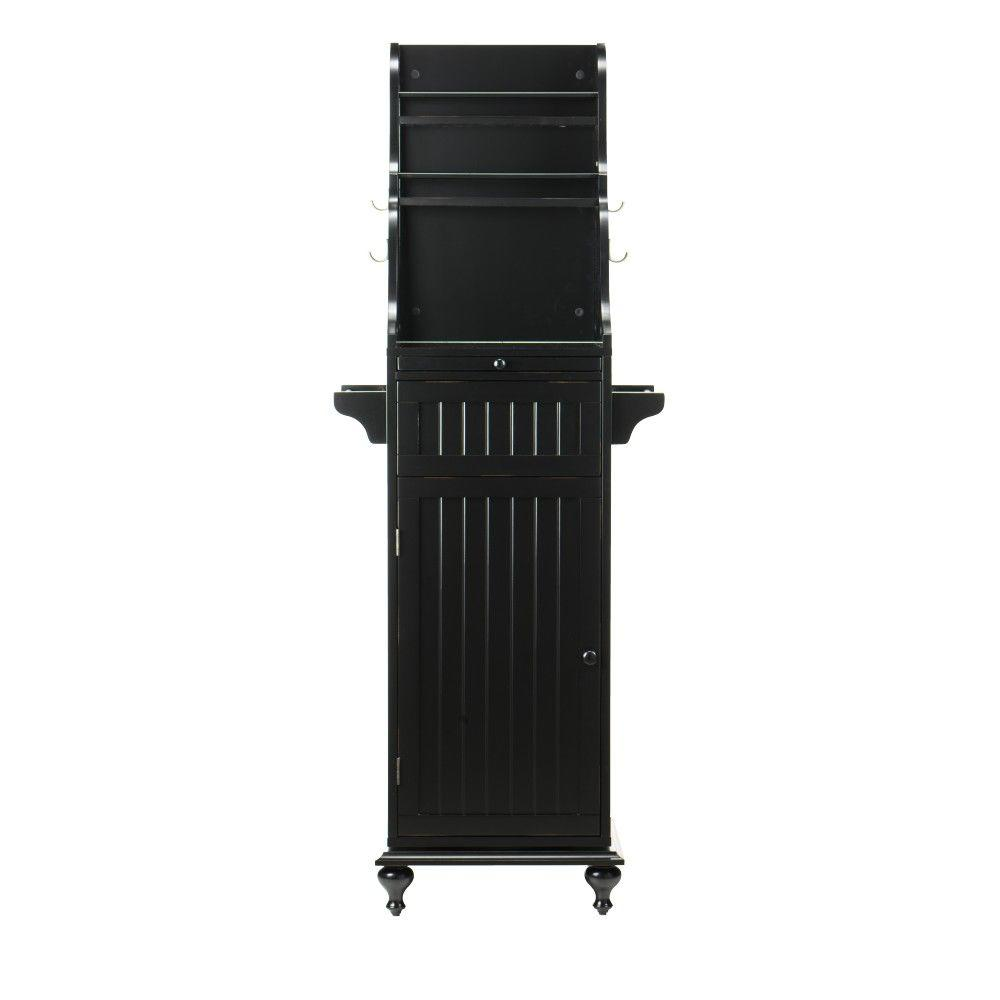 Home Decorators Collection Revolving 67.5 in. H Kitchen Storage Carousel in Worn Black
