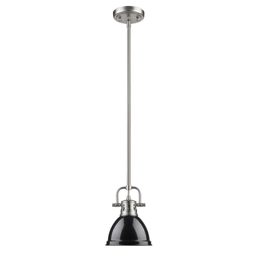 Duncan 1-Light Pewter Mini Pendant with Black Shade