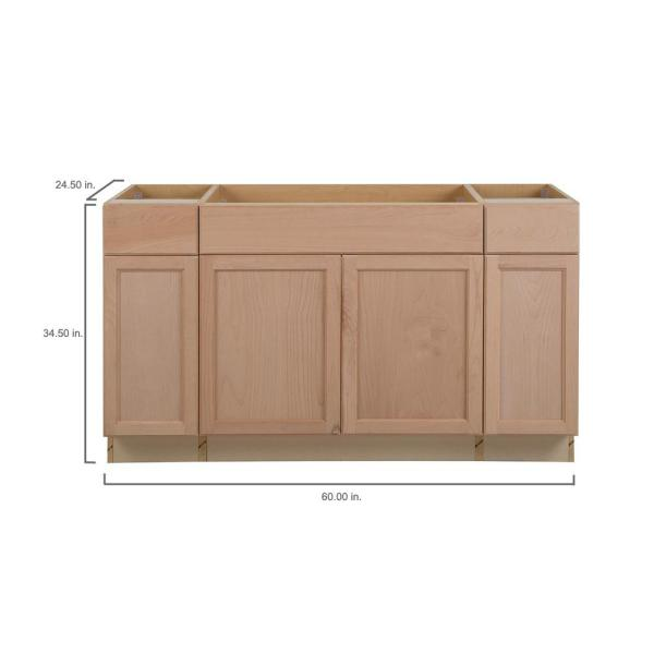 Easthaven Shaker Assembled 60x34 5x24 In Frameless Sink Base Cabinet With 2 Drawers In Unfinished Beech Eh6035s Gb The Home Depot